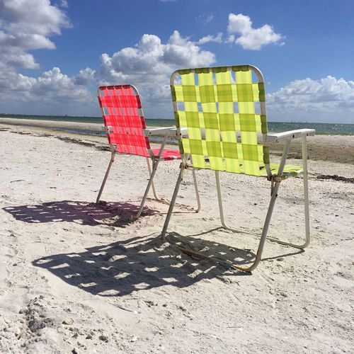 Beach Sand Sea Sky Sunlight No People Tranquility Vacations Water Florida Clouds Happyplace Island Islandlife Outdoors Seacoast Beach Life Beach Photography Beachlife Beachchair Haveaseat Shadow Nature Shore Day Cloud - Sky Horizon Over Water