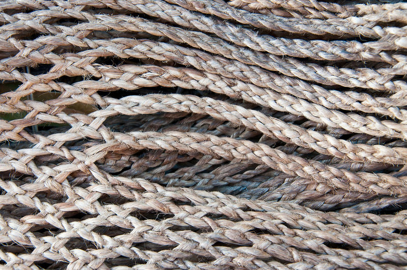 Full frame shot of braided ropes