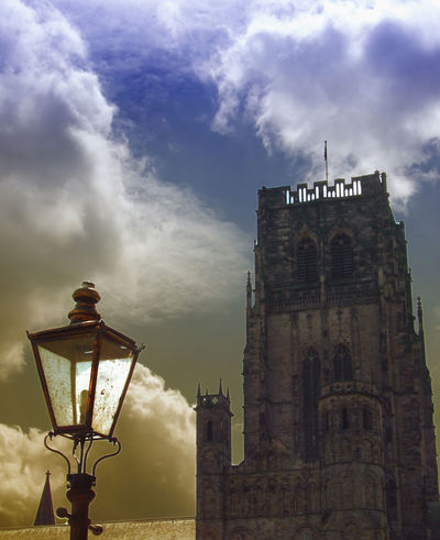Durham Cathedral & Lamp Dramatic Sky Durham Cathedral Durham City England, UK Street Lamp Architecture Building Exterior Built Structure Cloud - Sky Day Low Angle View No People Outdoors Place Of Worship Religion Sky Spirituality