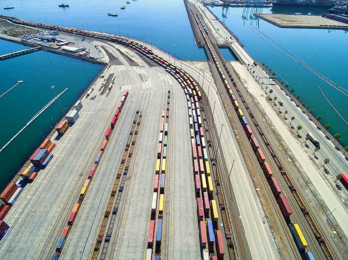 High Angle View Of Cargo Container At Harbor