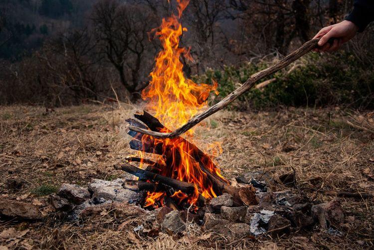 Campfire on mountain