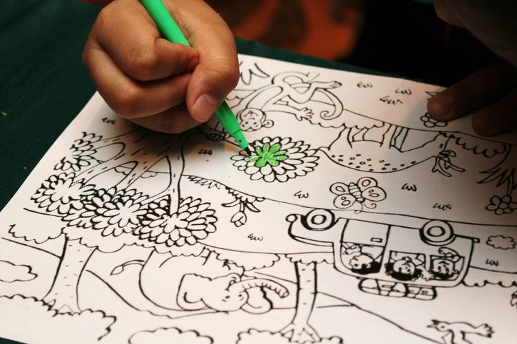 Human Body Part Human Hand Paper One Person Ink Indoors  People Creativity Drawing Child Colouring  Colouringbook Colouring Book
