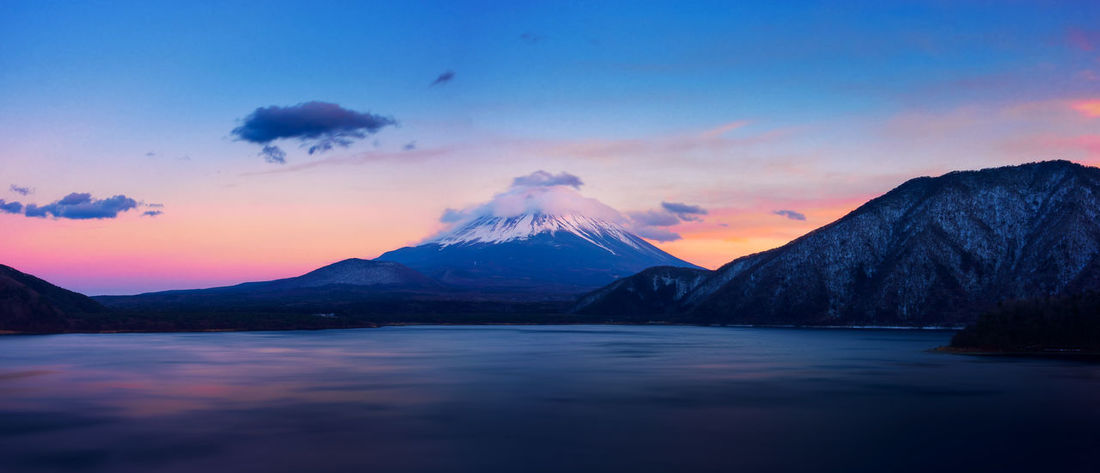 Japan S Twilight Beauty In Nature Cloud - Sky Cone Fuji Lake Landmark Landscape Motosuko Mountain Mountain Range Nature Rippled Scenics Sky Sunset Surface Volcano Water