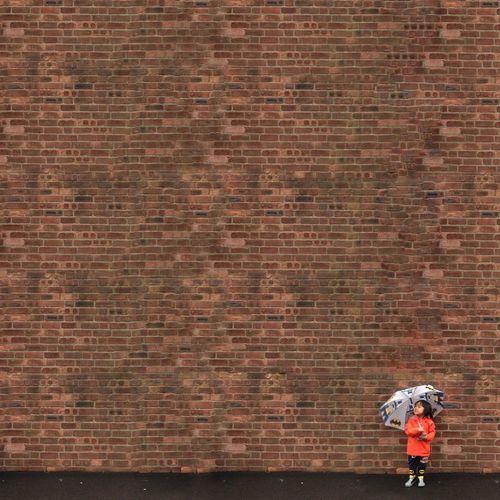 Raining? Brick Wall Kids Raining Day Umbrella Day Standing