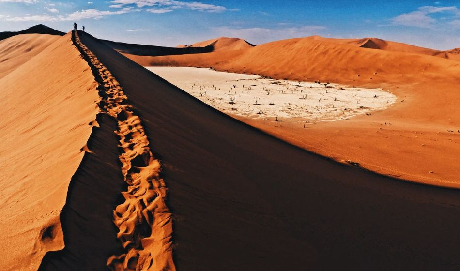 Sand Desert Sand Dune Landscape Arid Climate Nature Day Sunlight Outdoors Sky No People Deadvlei Sossusvlei Perspectives On Nature EyeEmNewHere Discover Africa Travel Explore Tranquil Scene Physical Geography Beauty In Nature Mountain