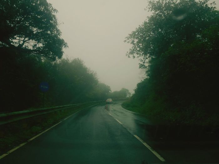 Outdoors Photograpghy  Phoneclick EyEmNewHere Lonely Lonelyroad Unexplored Slippery Roads Rain Rainy Days Tree City Fog Road Water Point Of View Street Wet Sky Travel Empty Road Asphalt