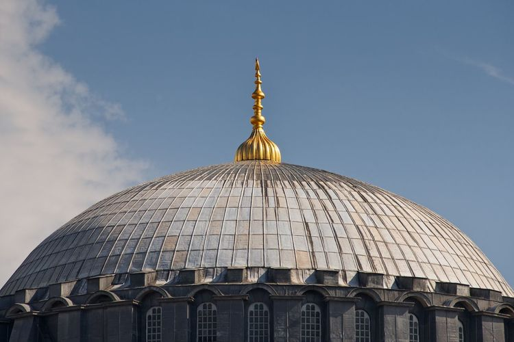 Mosque dome, Istanbul Istanbul Turkey Mosque Islamic Architecture Dome Roof Golden Tiles Cupola Architecture Historic Historical Building Religious Architecture Blue Sky Landmark Curve