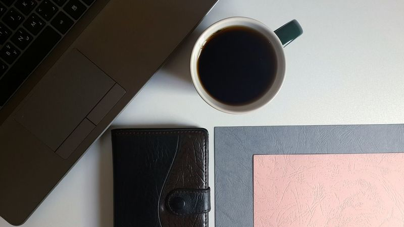 Freelance Life Close-up Coffee Coffee - Drink Coffee Cup Cup Desks From Above Directly Above Drink Everything In Its Place Food And Drink Indoors  Keyboard Laptop Notebook Office Paper Paper View Refreshment Simplicity Still Life Study Table Tea Technology