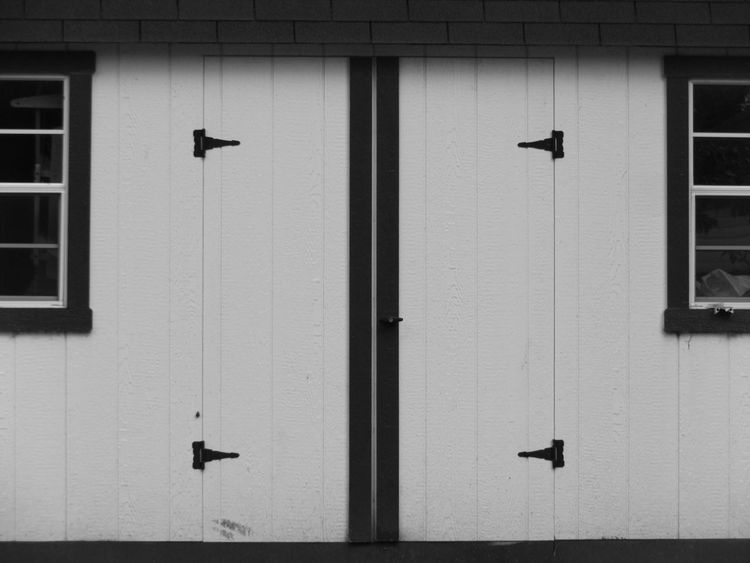 Black And White Photography Closed Door Full Frame Geometric Shape Hinges Modern Monochrome Shed Windows