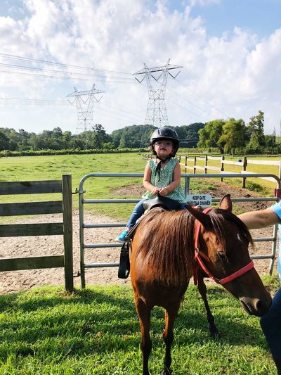 She rides Fence 2 Year Old Riding Lesson Pony Pony Ride Domestic Animals Animal Themes Livestock Domestic Animal Sky Mammal Horse One Person Real People Field Land Pets
