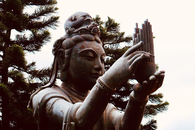 One of the six Devas - Music offering Music Buddhism HongKong Temple Travel Destinations Statue Sculpture Art And Craft Representation Human Representation Creativity Male Likeness Low Angle View Day Religion Sky Nature Tree Belief Spirituality Plant Outdoors Holding Portrait