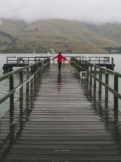 Rear view of man on footbridge over pier