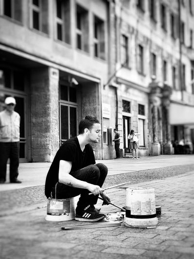 City-Garbage-Drummer Snapseed Editing  Iphoneonly IPhone IPhoneography Architecture Building Exterior City Built Structure One Person Adult Real People Street Lifestyles Young Adult Men City Life