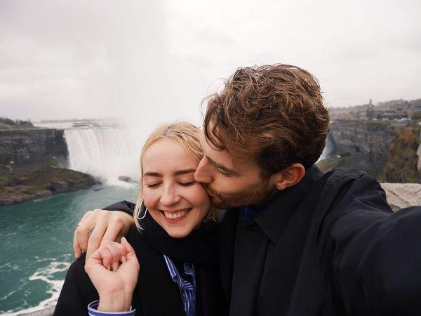 we love waterfalls Waterfall Two People Love Smiling