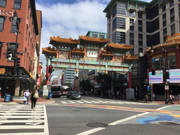 A main gate in Chinatown, Washington D.C. Asian  Chinatown Chinese Gate Exterior Washington, D. C. Architecture Building Exterior Built Structure City City Life City Street Crosswalk Street