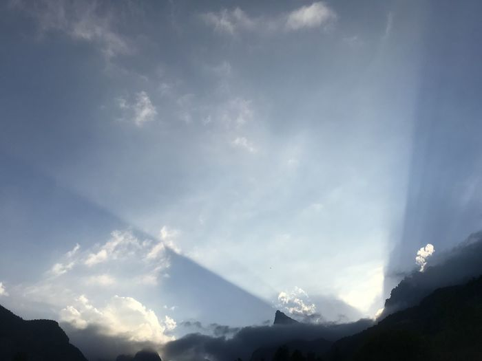 Low angle view of mountains against sky