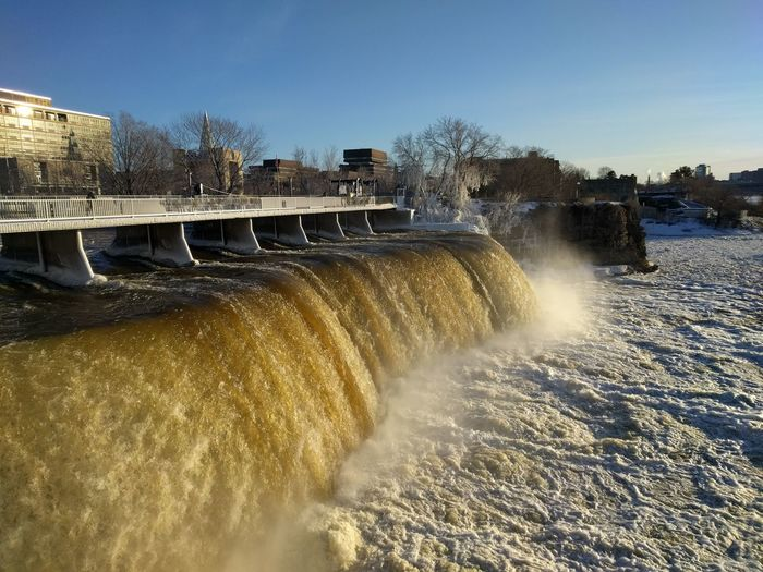 Motion Water Outdoors No People Sky Waterfall Travelling Travel Photography Rideau Falls Rideau Canal Ottawa Canada Winter Landscape Snow ❄