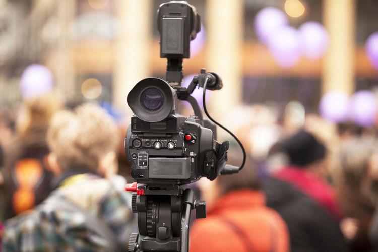 Close-up of video camera