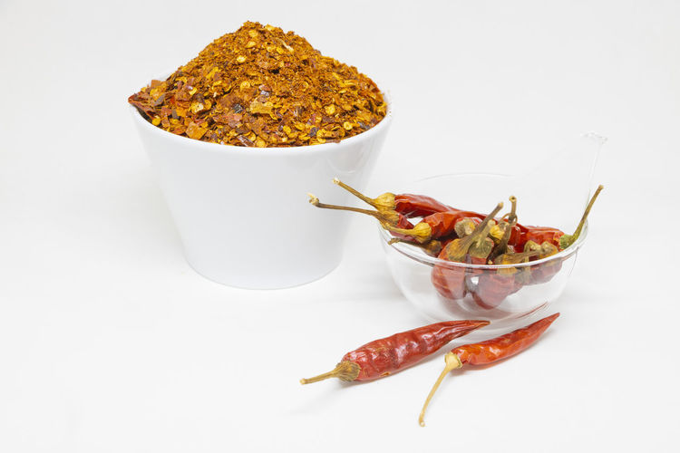 Close-up of chili peppers on white background