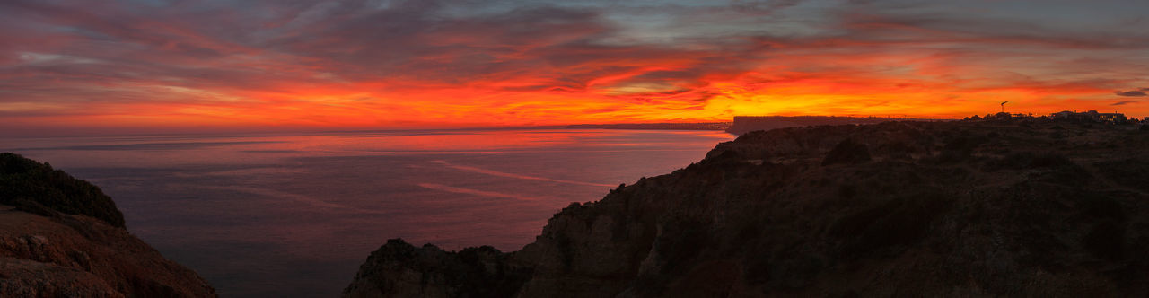 Lost In The Landscape Panorama Portugal Beauty In Nature Burningsky Cliff Colorfullsunset Darksunset Dramatic Sky Landscape Landscape_photography Multi Colored Nature No People Ocean Outdoors Powerofsun Sea Sky Sunset