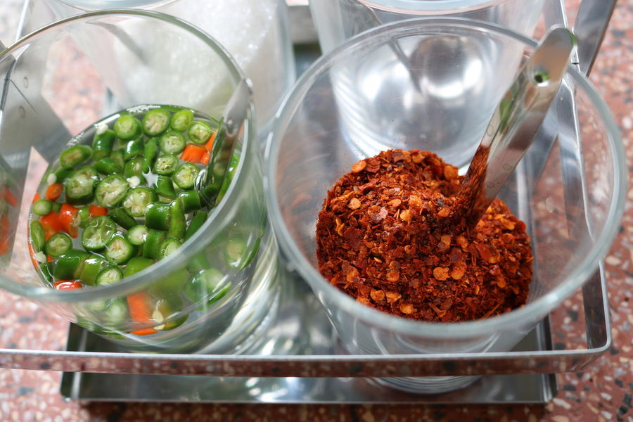 Seasoning Noodle Cayenne Pepper Chilli Close-up Glass Green Seasoning Spoon Water