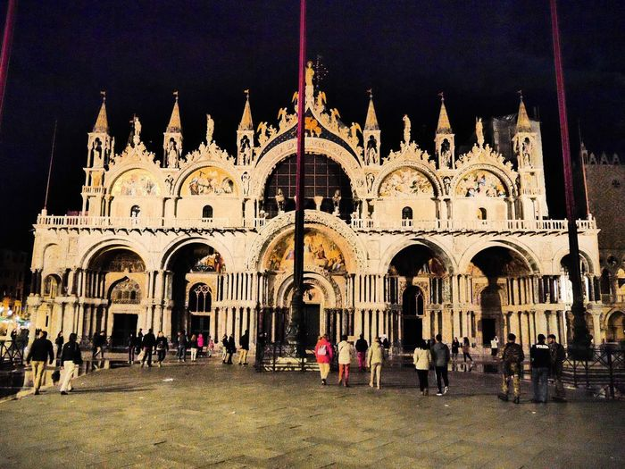 Even at night the Basilica in Piazza San Marco is stunning Large Group Of People ArchitectureNight Photography Venice, Italy Night Lights Cityscape Arch Built Structure Religion Place Of Worship Building Exterior Façade Spirituality Tourism Real People Men Travel Destinations Outdoors Night Lifestyles Dome Women Vacations Sky