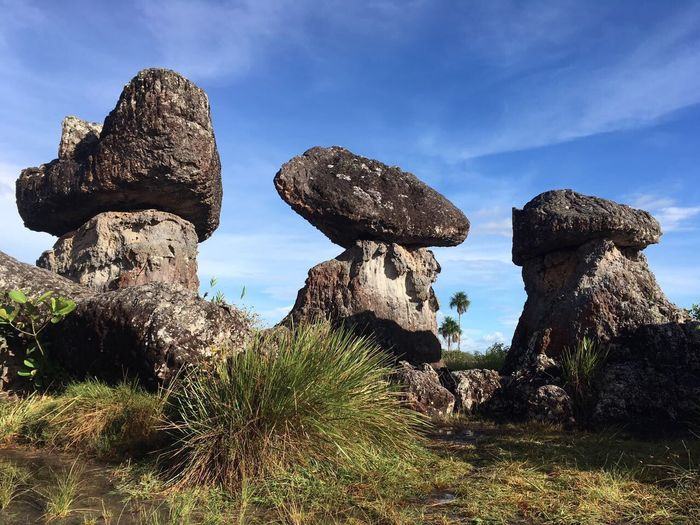 Ciudadepiedra Sinfiltro Cieloblu Colombia Es Bella Sky Rock Formation Rock - Object Geology Nature Cloud - Sky No People Physical Geography Outdoors Low Angle View Cactus Scenics Day