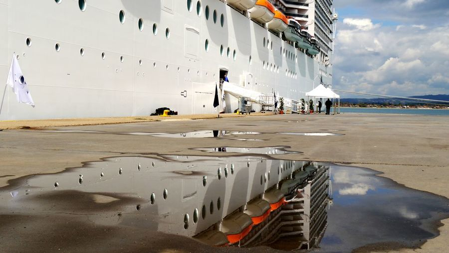 Low angle view of a moored cruise ship