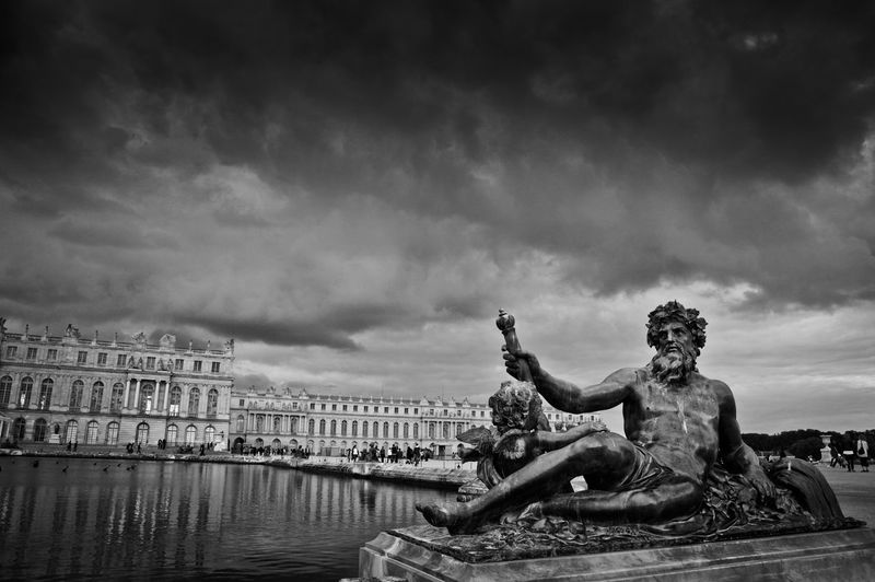 Palace Of Versailles France Art Blackandwhite Built Structure City Cloud Cloud - Sky Cloudy Day Fragility France Nature No People Outdoors Overcast Palace Sculpture Sky Statue Tourism Travel Destinations Weather