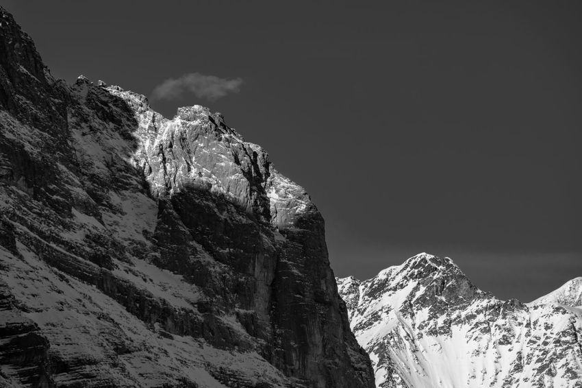 Black And White Blackandwhite Cliff Kleine Scheidegg Light And Shadow Low Angle View Mountain Mountain Range Peak Physical Geography Rock - Object Rock Formation Snow Snowcapped Mountain Swiss Alps Winter