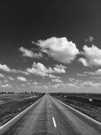 Highway under dramatic sky in South Dakota, USA The Way Forward Road Transportation Sky Cloud - Sky No People Day Landscape Outdoors Nature Scenics USA Highway Roadtrip Infinity Americana