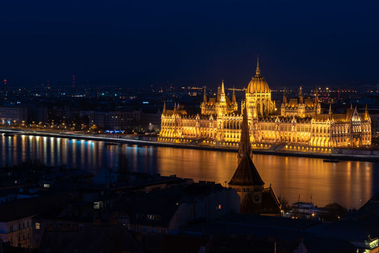 The illumanted hungarian parliament