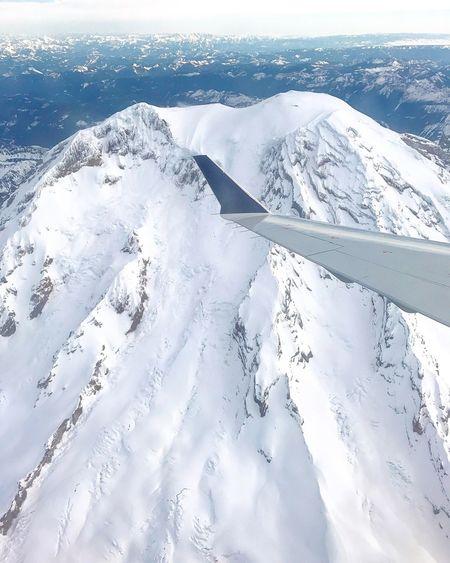 Flying High Travel Mountain Mount Rainier PNW Washington Flying Amazing