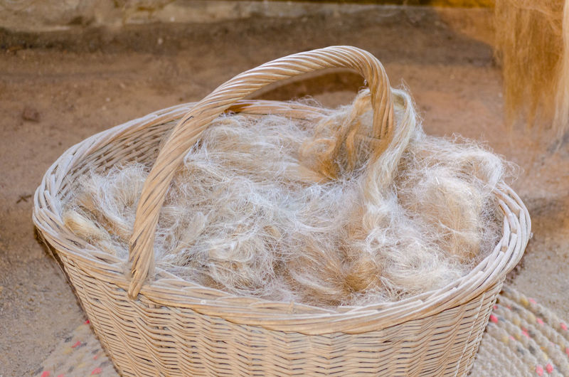 Close-Up Of Basket Full Of Cotton