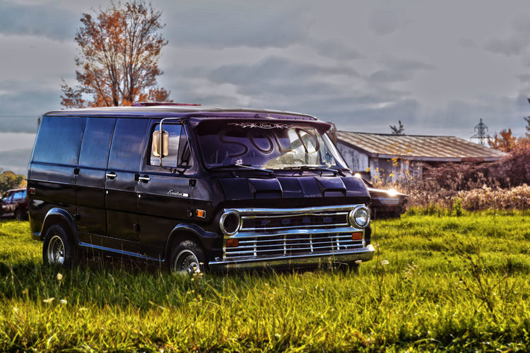 Abandoned Auto Cloud Econoline Ford Land Vehicle Outdoors Sky Van Vans Vehicle Wreck