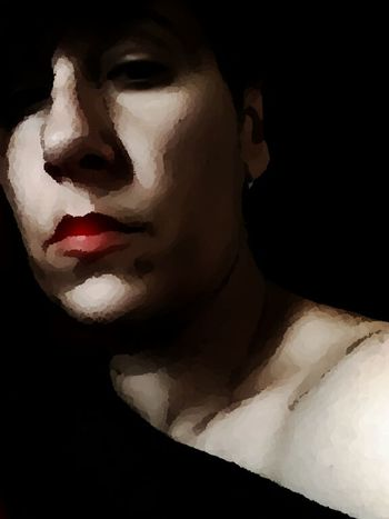 Black Background Human Body Part Portrait One Woman Only