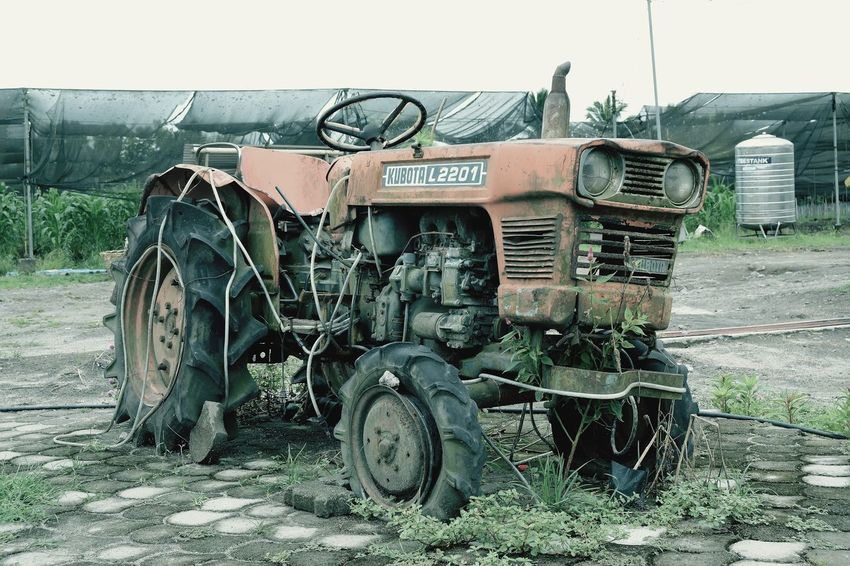 Old friend EyeEm Nature Lover Transportation Mode Of Transportation Day Land Vehicle Abandoned No People Clear Sky Damaged Land Agricultural Machinery Bad Condition