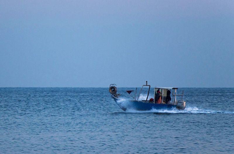 Sea And Sky Sea Liguria Boat Fisherman Blue Sea Spray