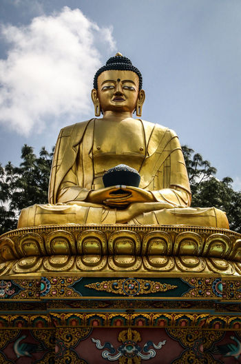 Buddha Buddhist Golden Kathmandu Nepal Stupa Swayambunath Swayambunath Stupa Architecture Buddha Statue Buddhism Buddhist Temple Culture Gold Gold Colored Male Likeness Nepali  Place Of Worship Religion Religious  Sculpture Spirituality Statue Swayambhunath Temple