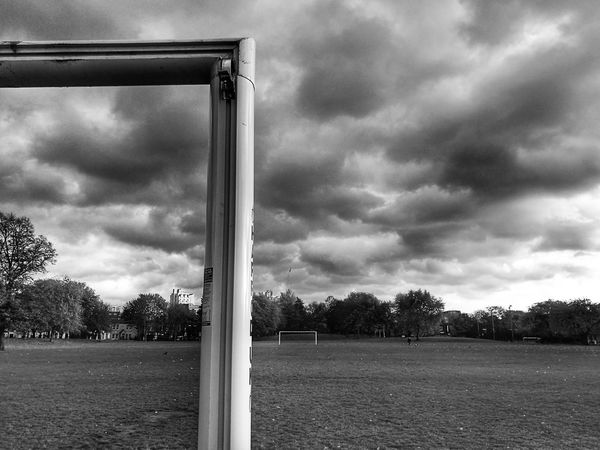 Corner Sky Cloud - Sky Tree No People Outdoors Day Nature Football Field Grass Black And White Tranquility Empty Monochromatic Sunset Natural Parkland Landscape