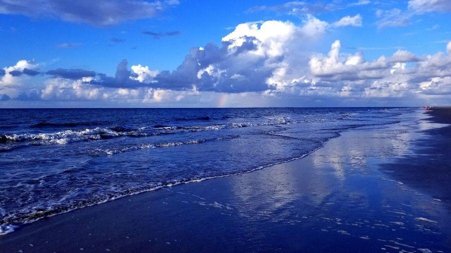 Rainbow Ocean Rainbow Beach Clouds And Sky Beautiful Beach View Beach Photography Travel Waves Coastline Weather Water Sea Beach Blue Seascape