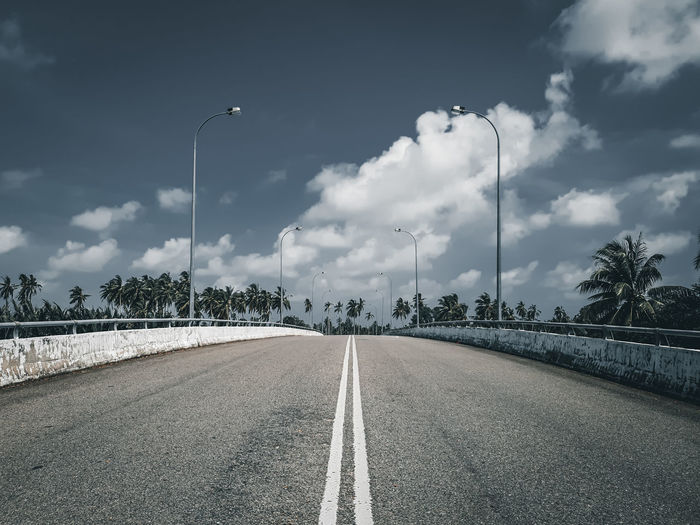 Surface level of road against sky