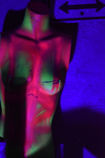 Indoors  Human Body Part One Person Midsection Front View Adult Fashion Standing Pink Color Young Adult Lifestyles Shirtless Body Part Real People Human Representation Women Representation Chest Blacklight Manican Snapfilm35