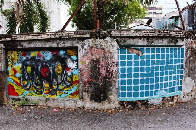Urban Art Street Art Wall Art Trash And Destroy Grunge Blue Wall Georgetown Penang Malaysia South East Asia