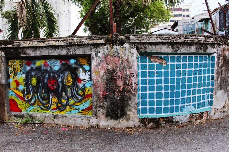 Urban Art Street Art Wall Art Trash And Destroy Grunge Blue Wall Georgetown Penang Malaysia South East Asia