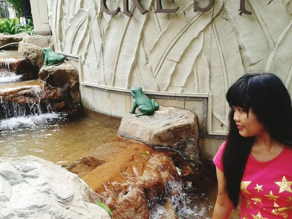 Water Flowing Water Flowing Rock - Object Casual Clothing Stream Person Day Non-urban Scene Scenics Asiangirl Indonesian Girl
