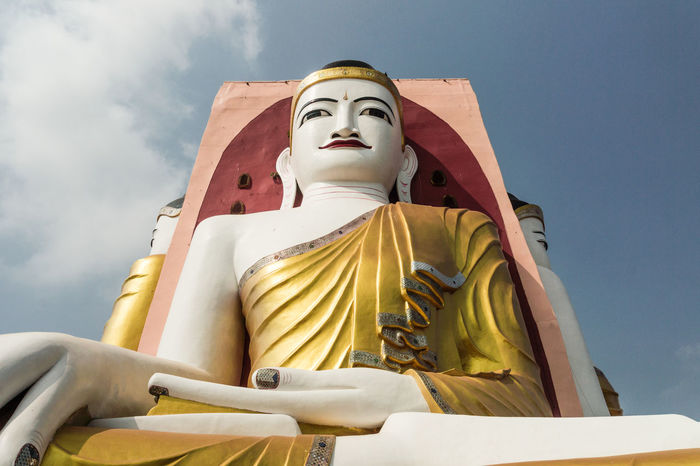Kyaik Pun Pagoda Bago Buddha Buddhism Temple Burma Cloud Kyaik Pun Pagoda Myanmar Statue Travel Yellow Dress Paint The Town Yellow