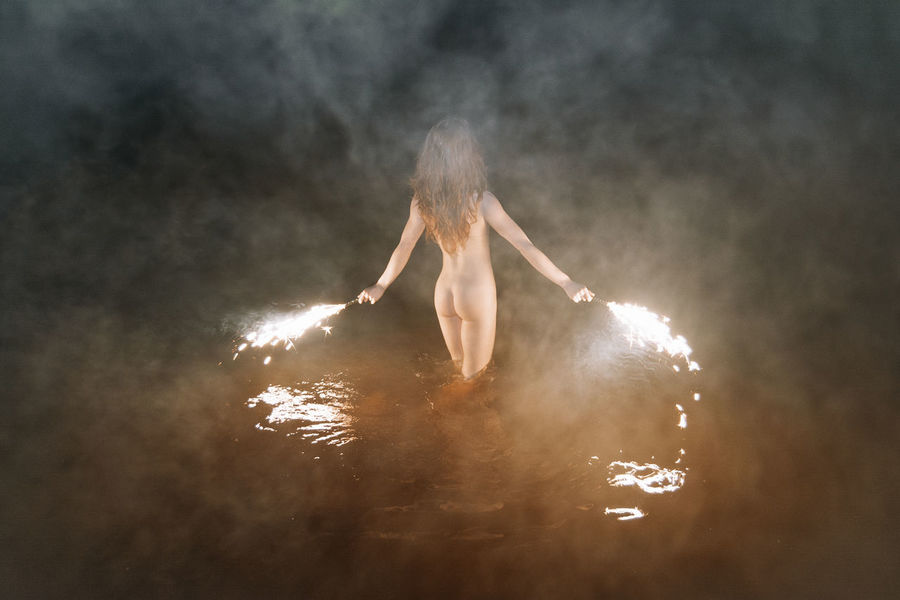 Fire Swim With Me Curves Fireworks Linas Was Here Reflection Smoke Wild Youth Brunette Fitnessmodel Girl Naked_art Night Nude_model Pyrotechnics