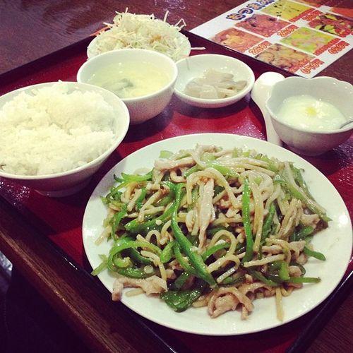 青椒肉絲定食♪