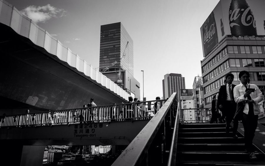 Let's hit opening time. Down on fascination street. Architecture Real People Staircase Low Angle View Blackandwhite Shibuya Connected By Travel